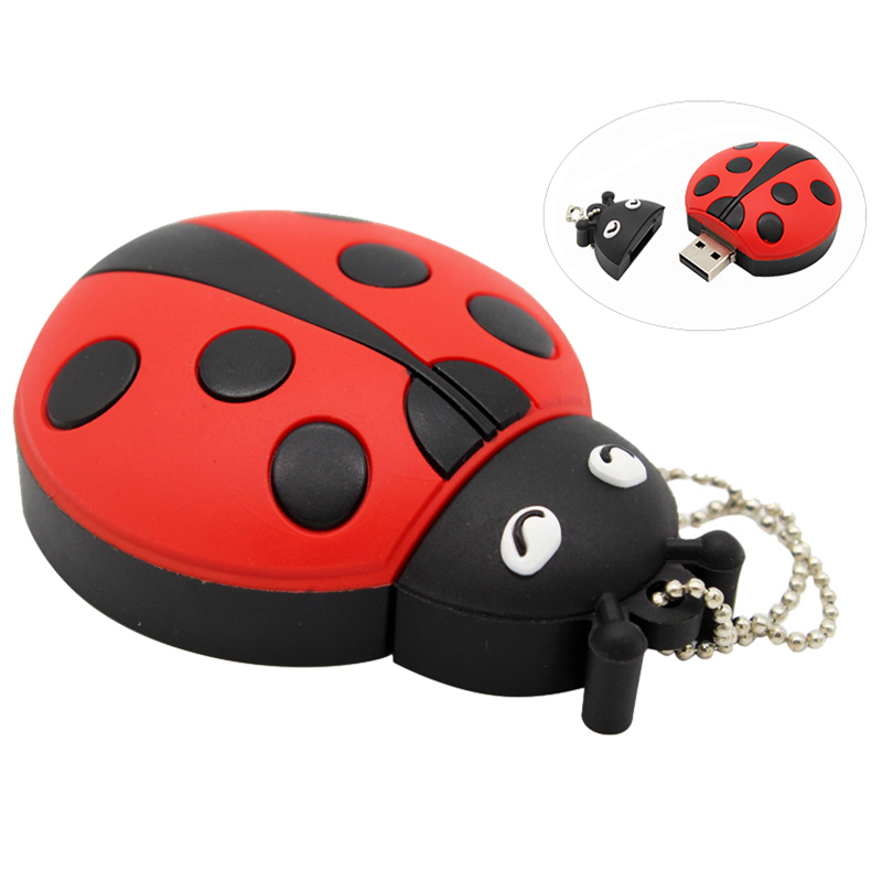 Cute CartoonAnimal Ladybugs Usb 4GB 8GB 16GB 32GB 64GB Pendrive USB Flash Drive Creative Gifty Stick Pendrive