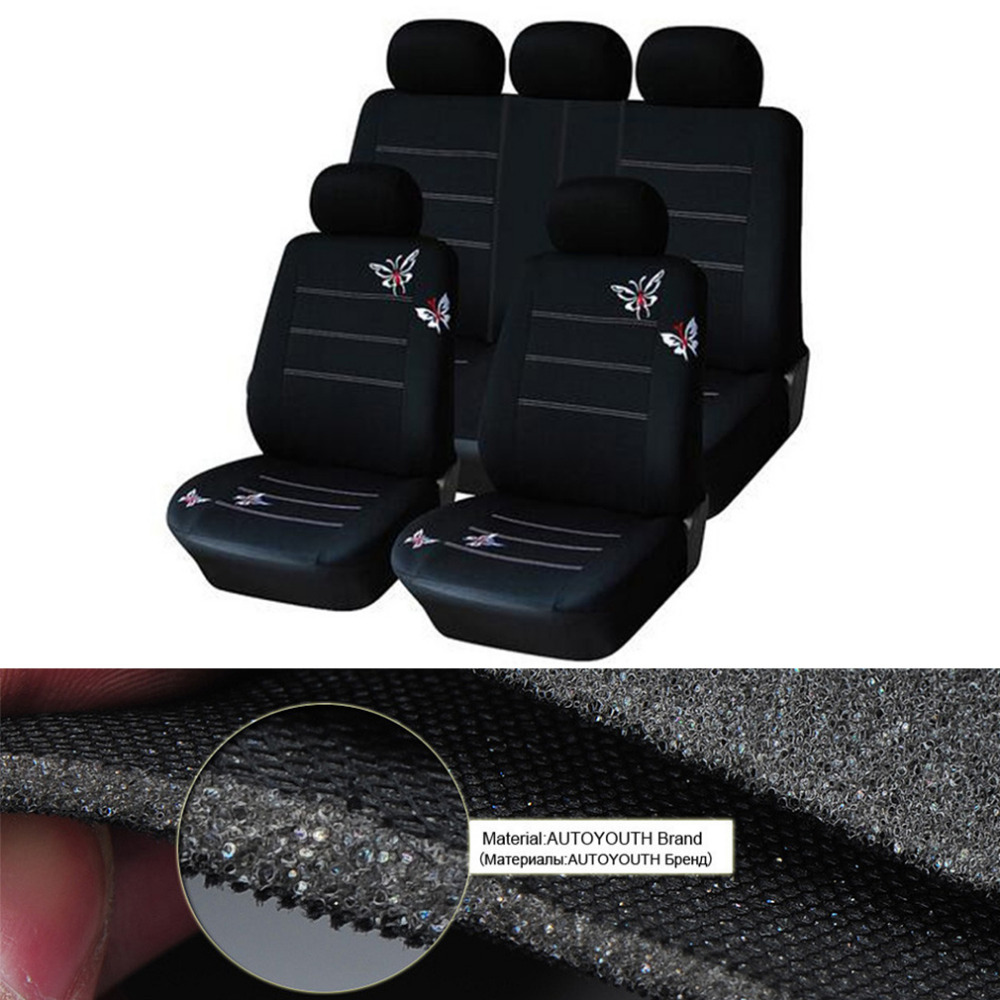 Car styling Embroidered Butterfly Car Seat Cover Universal Car Interiors Seat Covers Black Covers Hot Drop