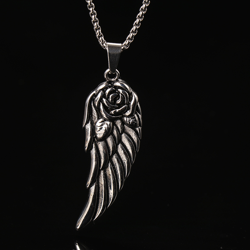 OQEPJ Vintage Wings Shaped Necklace Pendant Stainless Steel Silver Color Roes Flower Necklaces Plant Men Women Unisex Jewelry in Pendant Necklaces from Jewelry Accessories