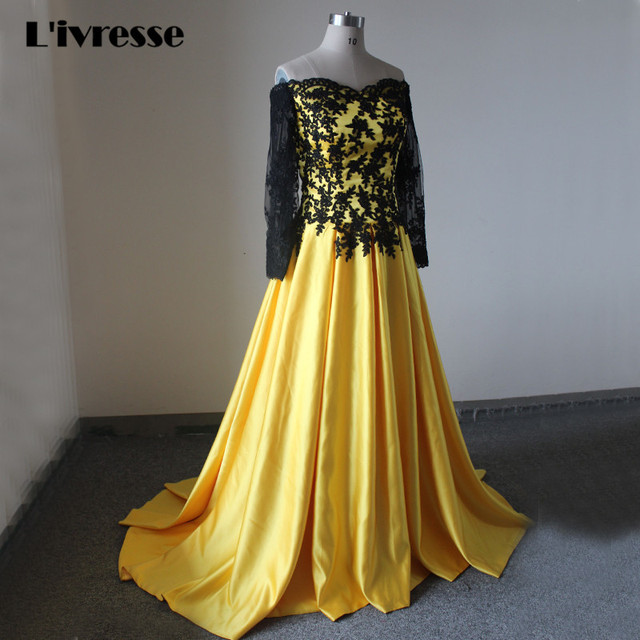 e357001dfece Real Photo Sweetheart Off Shoulder Yellow Satin Evening Dress A-Line Sweep  Train Black Appliques Long Sleeve Formal Dresses