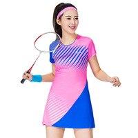 Women S Sports Dress Badminton Clothes Short Sleeve Tennis Dress With Safe Shorts Woman Leisure Vestido