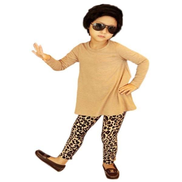 6fb359635013 Girls Kids Stretch Full Length Leopard Animal Print Legging Pants Trousers  XS-XL