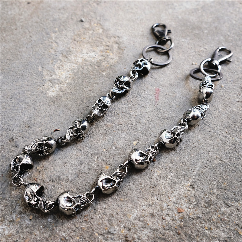 Punk Jewelry Fashion Wallet Key Chain Rock Skull Trousers Pant Jean Chains Metal Keychain J220