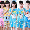 Special offer cheap Pajamas kids Summer Children Short Sleeve sleepwear sets Thin Cartoon Lovely Unisex girls boys Home clothing