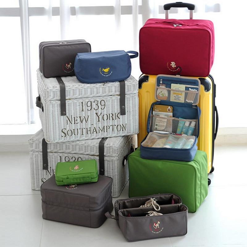 2017 мода двойно цип водоустойчив полиестер мъже и жени багаж пътни чанти опаковане кубчета пътни чанти двойна палуба чанта