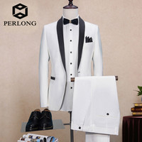 New Custom Brand Men's Suits Ivory White Slim Fit Suit Male Blazers Tuxedos Groom Prom Wedding Business Formal Suit Jacket+Pants