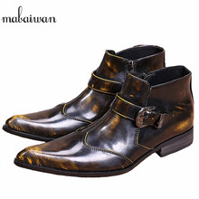 Mabaiwan Fashion Bronze Genuine Leather Men Ankle Boots Pointed Toe Military Boots Wedding Shoes Cowboy Boots