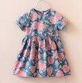Мода дети дети Roupas детские короткий рукав девушки джинсы цветок старинные платье принцессы Vestidos S2858