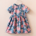 Fashion Children Kids Roupas Baby Short Sleeve Girls Denim Jeans Flower Vintage Princess Dress Vestidos S2858