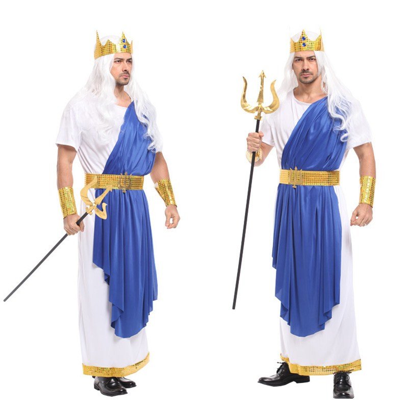 Sea King Poseidon costume Men Halloween Olympus gods Zeus Cosplay Festival parade Carnival Masquerade masked ball Party dress