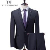 Тянь QIONG индивидуальный заказ черный мужской костюм, костюм, заказ 2018 новые Нарядные Костюмы для свадьбы для Для мужчин, slim Fit Жених смокинги
