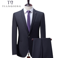 TIAN QIONG Custom Made Black Men Suit, Tailor Made Suit, Bespoke 2018 New Wedding Suits For Men, Slim Fit Groom Tuxedos For Men
