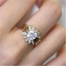 imixlot 3pcs/Set Luxury Female White Round AAA Zircon Ring Set Fashion Silver Promise Engagement Rings For Women Jewelry