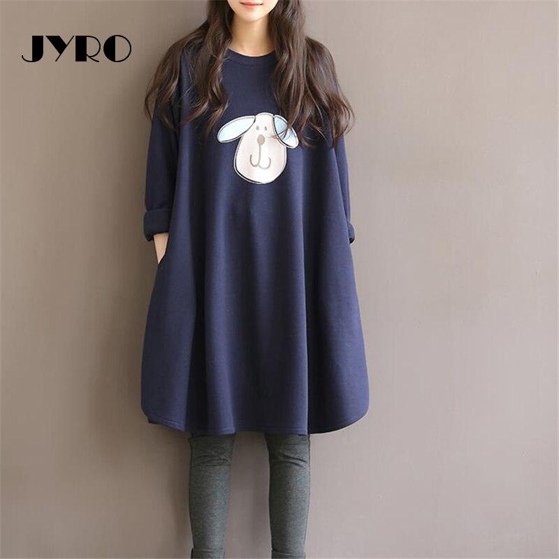 JYRO Brand Mori Womens Dresses New Spring Art Printing Long Loose Large Size Knee-Length Long Sleeved Sweater Dress Backing