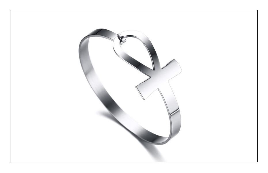 Stainless Steel Ankh Cross Bracelet for Men