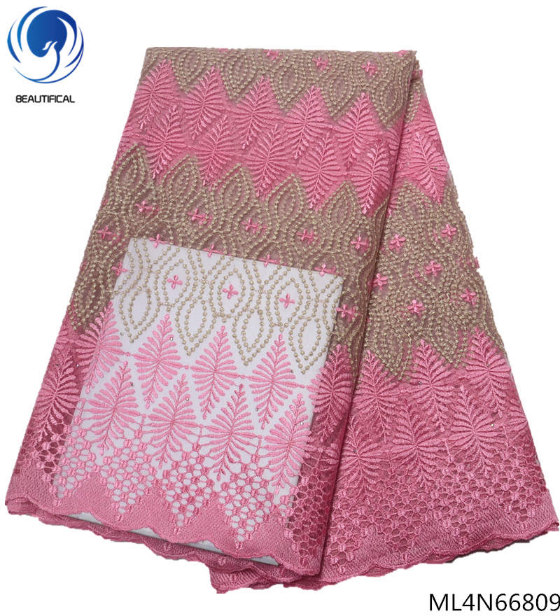 BEAUTIFICAL Nigerian lace fabrics for dresses Hot sale pink african tulle lace with rhinestones fabrics 5yards lot ML4N668 in Lace from Home Garden