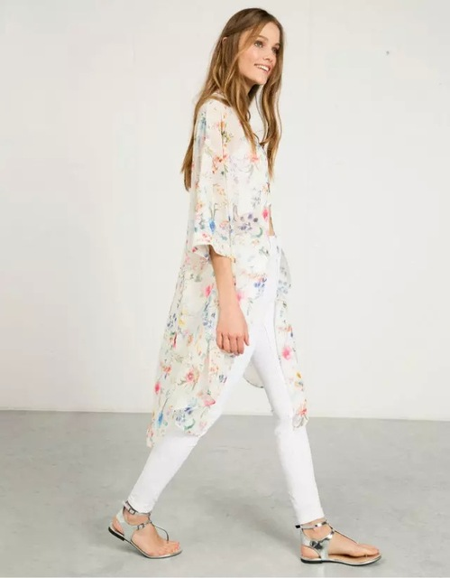 Women Blouses 2019 Kimono Cardigan two Colors Chiffon Flowers White And black Blouse Shirt Chemisier Femme