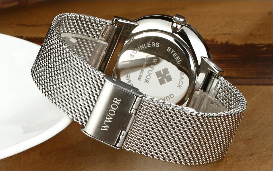 WWOOR Brand Luxury Men Waterproof Stainess Steel Casual Gold Watches Men's Quartz Sport Wrist Watch Male Clock relogio masculino 10