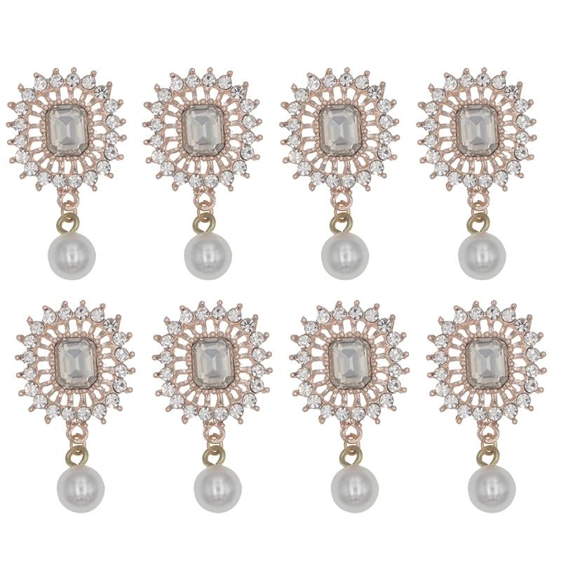 43x28mm Rhinestone Decorative Buttons Handmade Flatback Metal Pearl Button Embellishment For DIY Home Decoration Accessories