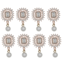 43x28mm Rhinestone Decorative Buttons Handmade Flatback Metal Pearl Button Embellishment For DIY Home Decoration Accessories цена