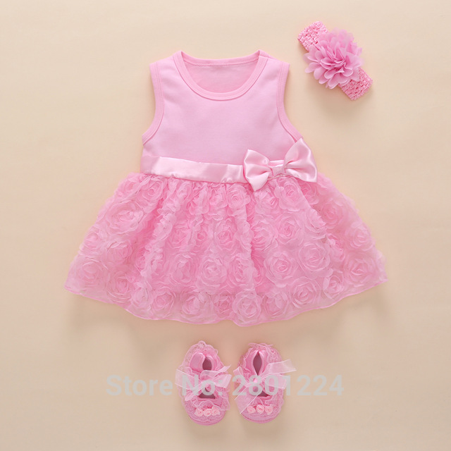 fae083cb498c4 New Born Baby Girls Infant Dress&clothes Summer Kids Party Birthday Outfits  1-2years Shoes Set Christening Gown Baby Jurk Zomer free shipping worldwide