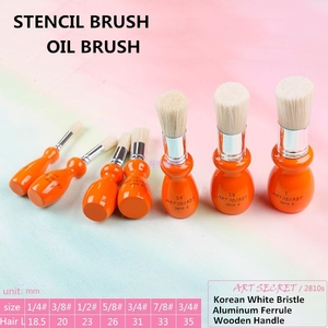 Image 5 - 2810S high quality 7PC/Lot hog bristle hair oak wooden handle brass ferrule oil and acrylic brush