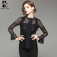 Spring Autumn Woman Blouse Shirt Stand Collar Flare Sleeve Black Red Lace Blouse Shirt Fashion Vintage