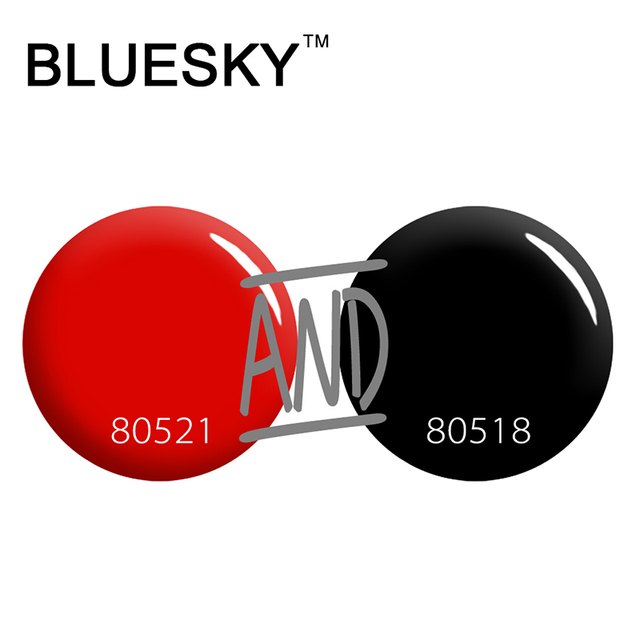 Perfect Polish Color Combinations for Carzy Summer 2016 Bluesky Super Color Red& Black Polish
