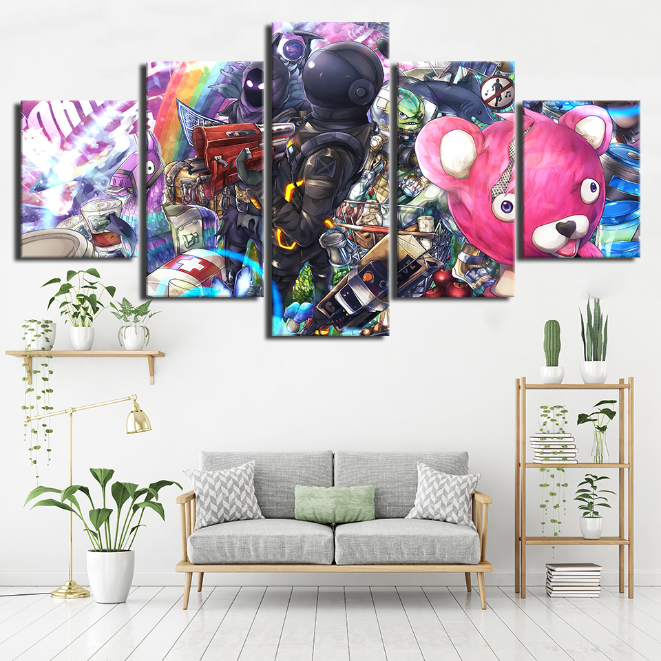 Canvas Wall Art Modular Pictures Home Decor 5 Piece Game Cartoon Figure Painting Print Living Room