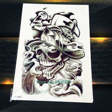 1PC Fashion Death Skull 3D Waterproof Temporary Tattoo Men PQS-A058 Sexy Women Tattoo Sleeve Body Art Arm Punk Design Tattoo