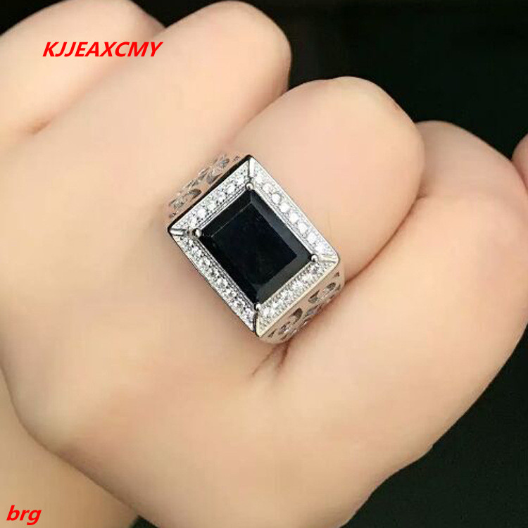 KJJEAXCMY Fine jewelry Fine 925 Inlaid natural sapphire men's ring in Sterling Silver