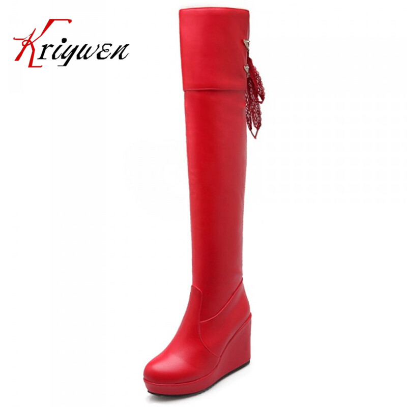2015 new fashion red womens Over-the-Knee boots knight Round Toe wedges metal knot thigh women long boots Platform boots ...