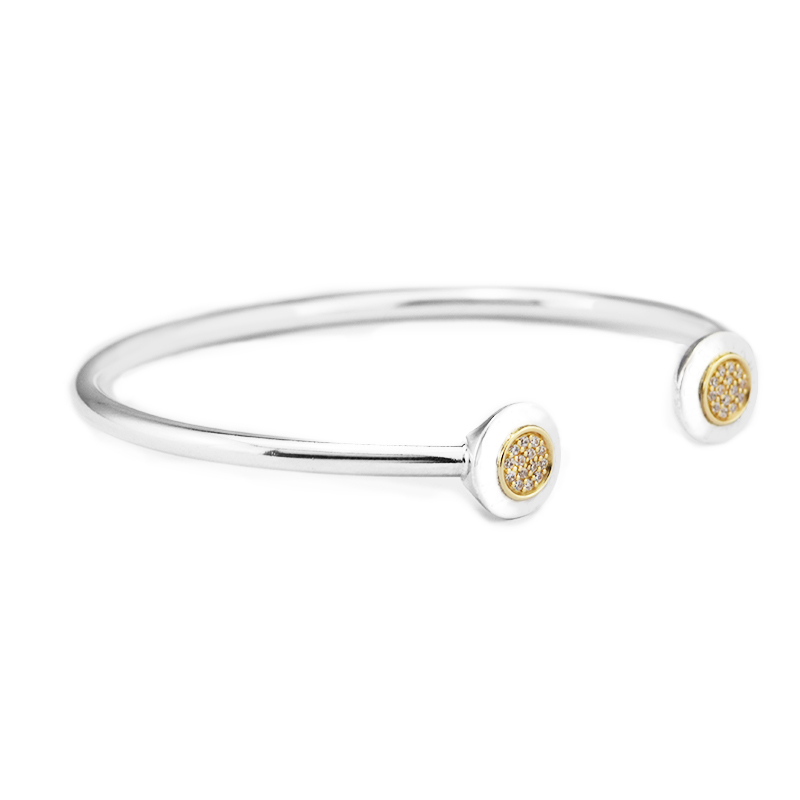 Signature Bangles with 14K Real Gold & Clear CZ 100% 925 Sterling-Silver-Jewelry Free ShippingSignature Bangles with 14K Real Gold & Clear CZ 100% 925 Sterling-Silver-Jewelry Free Shipping
