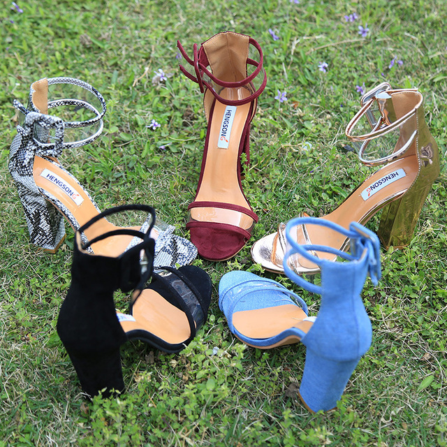 Super High Shoes  Women Pumps Sexy Clear Transparent Strap Buckle Summer Sandals High Heels Shoes Women Party Shoes AY912509