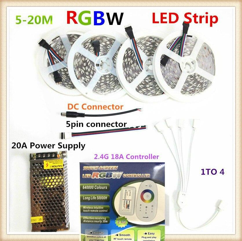 RGBW 20M 15M 10M 5M IP65 Waterproof 5050 Flexible Tape DC12V LED Strip Light + 2.4G RF Remote Controller + Power adapter Kit