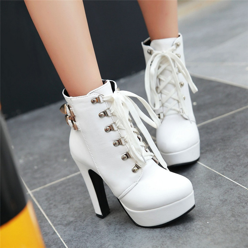 Womens Platform Stiletto Ankle Martin Boots Casual Lace Up High Heels Shoes