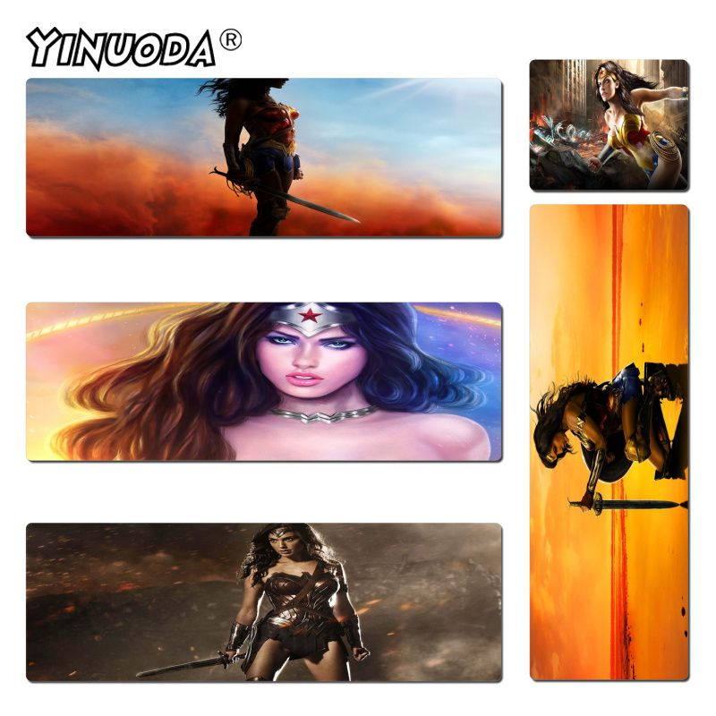 Yinuoda Wonder Woman Wallpaper Rubber Mouse Durable Desktop Mousepad Size for 30x60cm and 40x90cm Gaming Mousepads