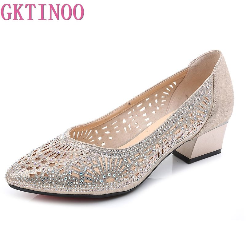 GKTINOO 2020 New Summer Fashion Pumps Cut-outs Women Crystal Casual Ladies Shoes High Heels Tenis Feminino Genuine Leather