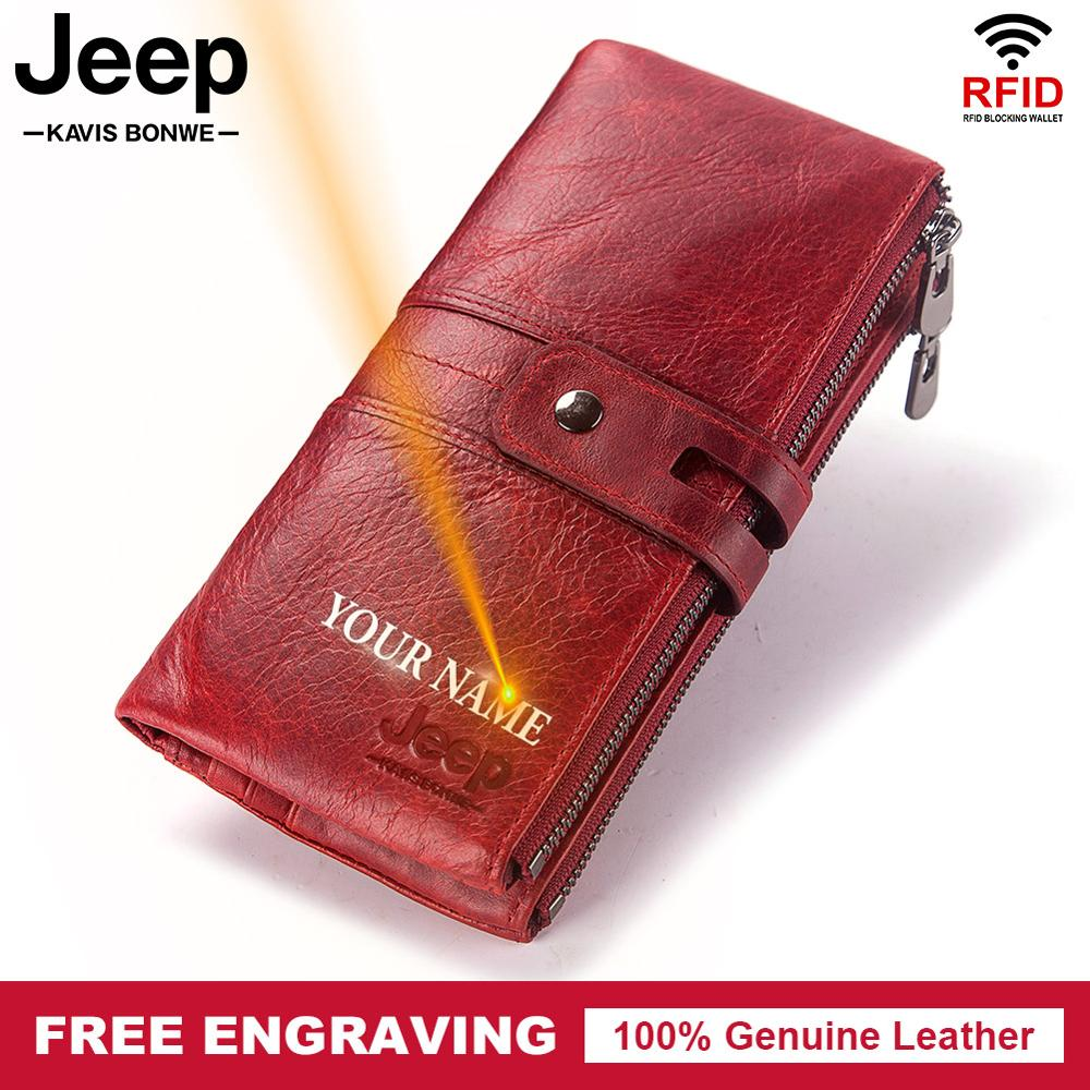 Women Free Engraving 100% Genuine Leather Women Wallet Coin Purse Female Lady Long Handy Card Holder Clutch For Red Fashion