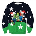 Funny Print Stars Mario Santa Claus Sweatshirt 3D Christmas Sweatshirts Men Women Casual Hoodies Fashion Long Sleeve Pullovers