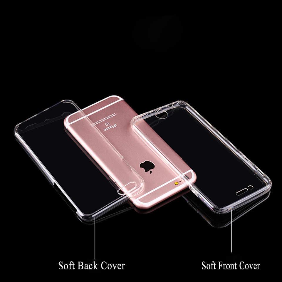 حقيبة لهاتف أي فون 7 Plus SE 5s 6 6s 8 X XR XS MAX غطاء 360 غطاء سيليكون شفاف كامل لهواوي P30 برو P20 لايت P10 Mate 20 10