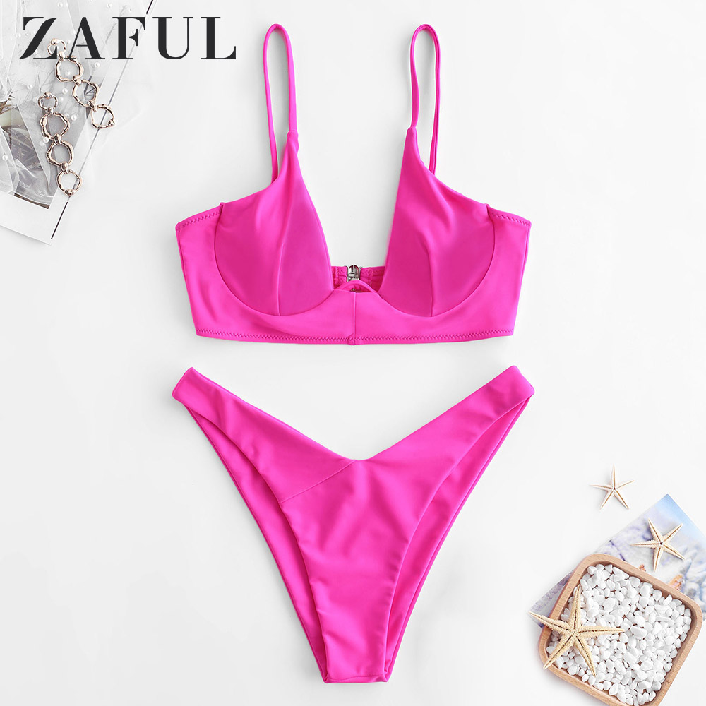 ZAFUL Bikini Underwire High Cut Neon Bikini Set Spaghetti Straps Padded Solid Swimsuit Women Swimwear Push Up Bathing Suit 2019