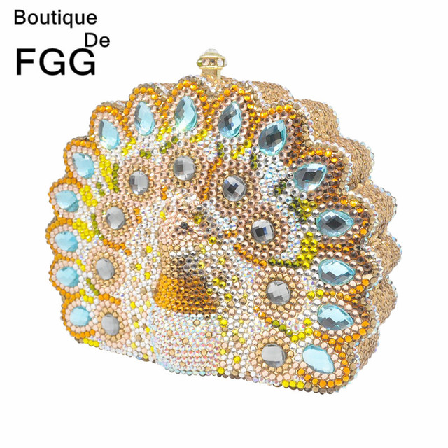 Lady Metal Prom Hand Bags Party Clutch Crystal Evening Bags Mini Wedding Clutches Bridal Purse Diamond Peacock Shoulder Handbag