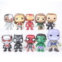 10pcs justice league batman flash cyborg superman Aquaman action figure big Bobble Head Q Edition no box for Car Decoration