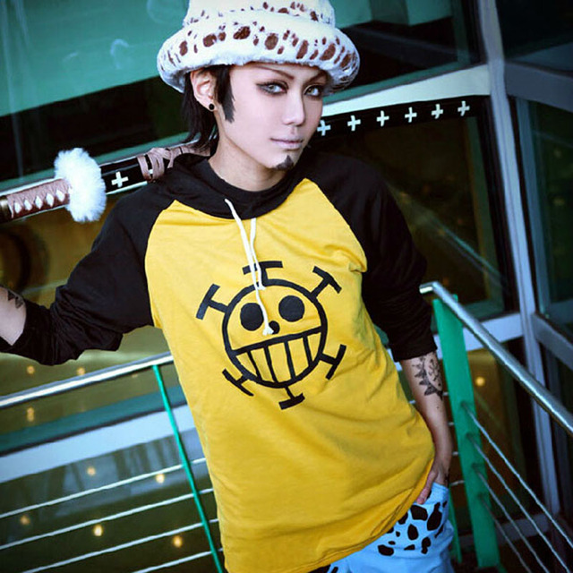 Anime One Piece Trafalgar Law Hoodie Long Sleeve T-Shirt Sweatshirt Hooded Tops Tee Jacket Cosplay Costume Size S M L XL XXL