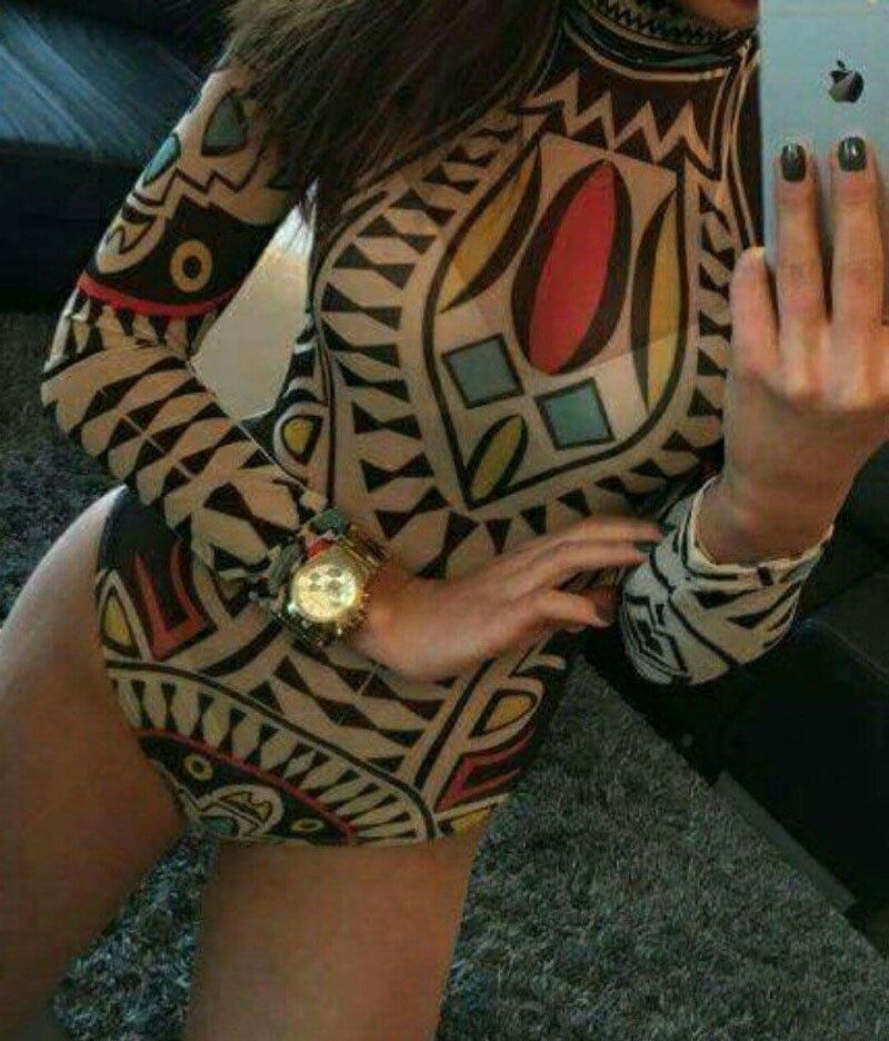 SEXY Women's Ladies Bodysuit Leotard Bodycon Bandage Mesh Print   Jumpsuit   Romper