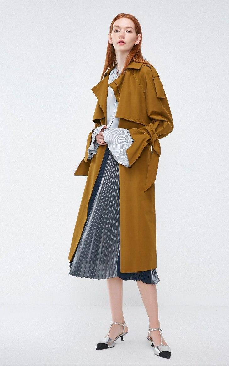 Vero Moda 19 new windshield design cuffs decorated british long trench coat | 318321508 25