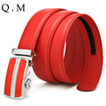 Belt 2016 New Designer Black Genuine Leather Belt High Quality Red Automatic Buckle Novelty Ceinture Luxe Belts For Men Business