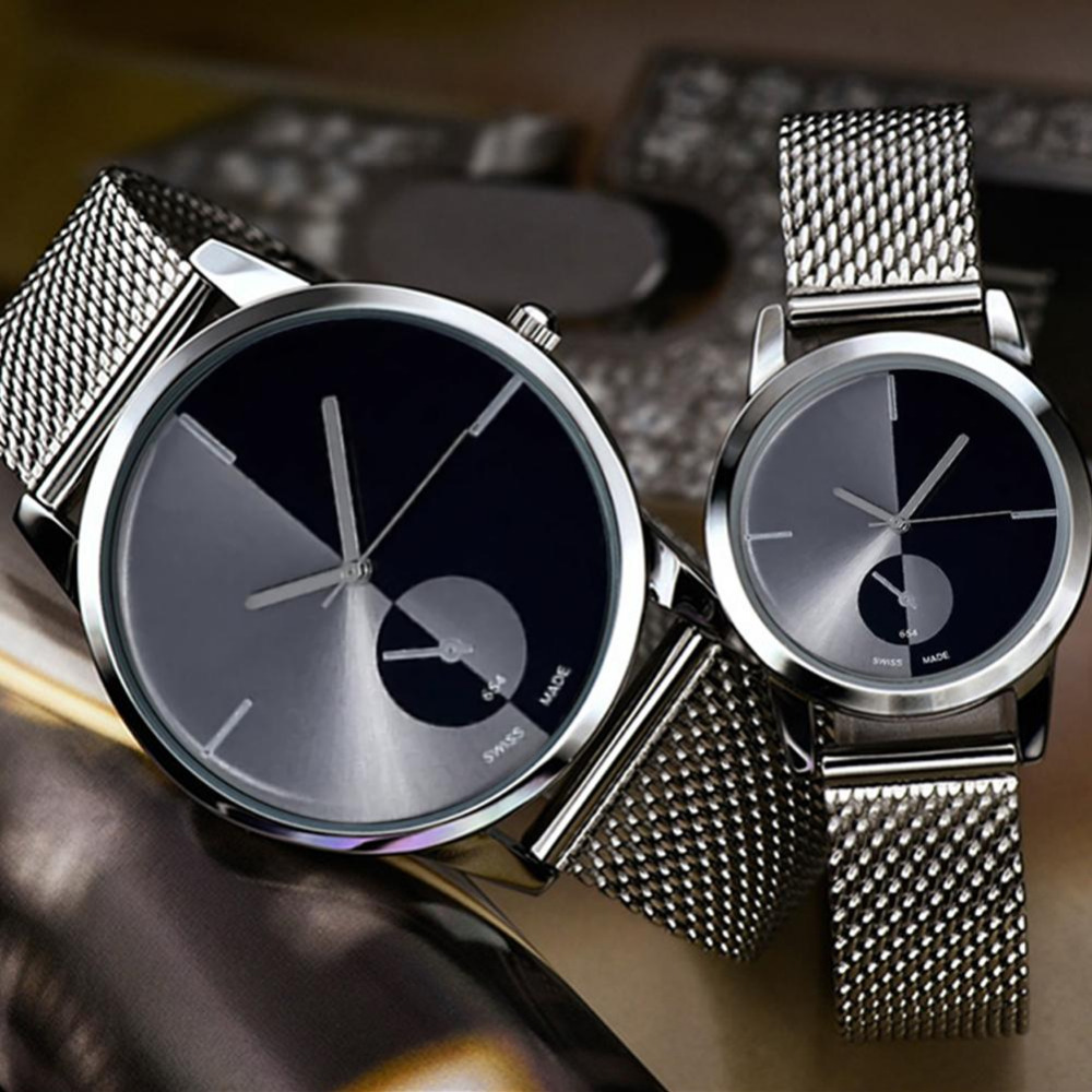 Fashion Stainless Steel Mesh Band Couple WristWatch