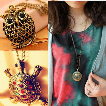 High Quality Jewelry Pendant Necklace Vintage Antique Owl/ Dragonfly/Tortoise animal Women Sweater Chain Necklace Accessories
